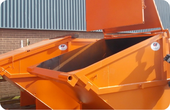 Lids of lockable skips safely opened at scrap metal recyclers