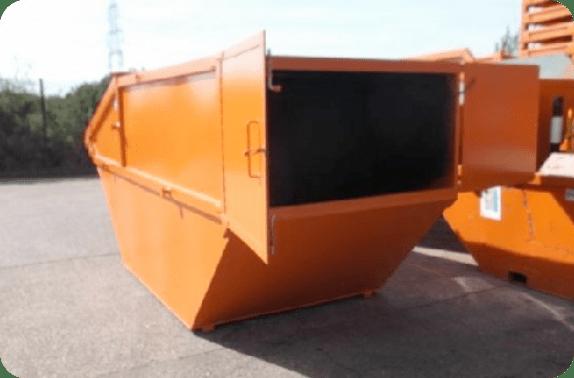 Lockable skip with rear doors open
