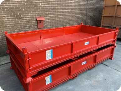 Photo of stackable low profile scrap bin for easier loading