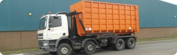 RoRo Skips being transported for scrap metal recycling