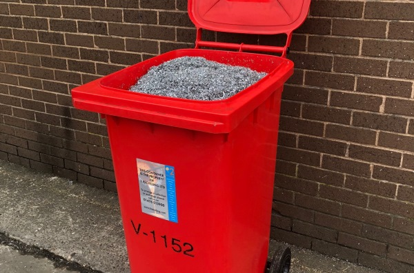TYPE V - small plastic wheelie bins for scrap metal recycling stopping leaking coolant